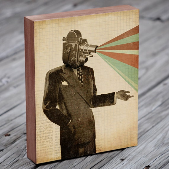 Film Art - Camera Art Print - Projector Head - The Golden Age of Cinema - Wood Block Art Print