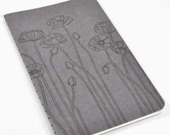 Pretty Poppies Gray Pocket Moleskine Cahier Notebook Hand Stamped