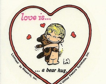 "Vintage 80's Boxed-In Transparent Heart ""Love is... A Bear Hug"" Sticker by Kim Casali"