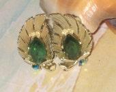Lisner Stamped Emerald Earrings, Gold Tone, Leaf, Navette