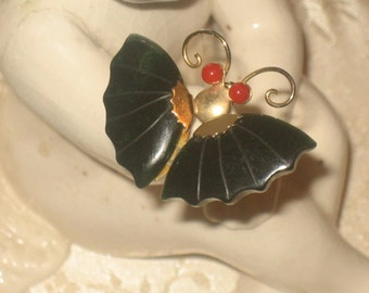 SALE Vintage Jade & Coral Brooch or Pendant, Butterfly, Gold Tone