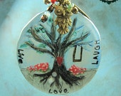LIVE LOVE LAUGH Hand painted Resin Pendant with Brass Necklace and Charms
