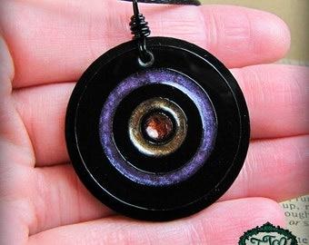 Bullseye Style Purple and Orange Resin and Acrylic OOAK Necklace