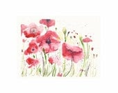 """Red Poppies I, Original Watercolor Painting 5""""x7"""" (approx)"""