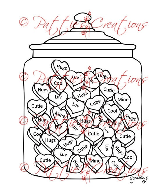 Candy Hearts Jar
