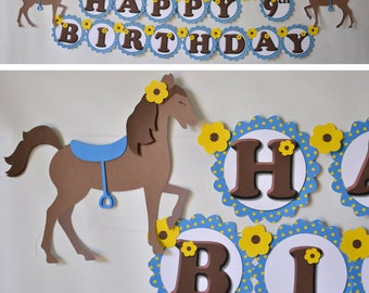My Little Pony Birthday Banner Party Decorations,  Horse Decor - BANNER 2-D - CUSTOM Message (20 letters)