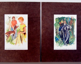 "SALE 8"" x 10"" Ready to frame Set of 2 beautiful mated illustrations dated 1960's / Unique teenager room decor / holidays walldecor"
