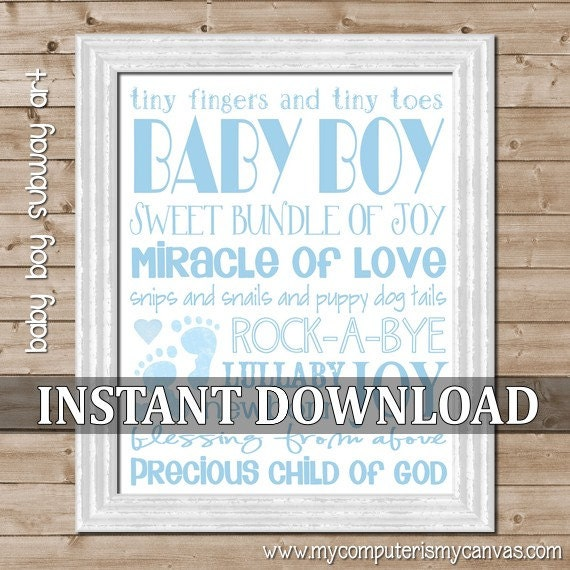 CLEARANCE Baby Boy Subway Art - Printable INSTANT DOWNLOAD