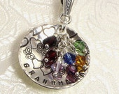 Personalized Grandma Necklace - Hand Stamped Silver Domed With Butterflies and Hearts - Available for Mother's Day