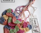 10  Little Tiny Colorful Crochet HEARTS in  PASTEL Colors great for Decorations, Ornaments, Embellishments as Gift Tags, Easter