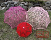 "VALENTINE 9"" Mini RED Heart Lace Crochet  UMBRELLA Parasol , Summer Wedding Flower Girl- Ready To Ship"