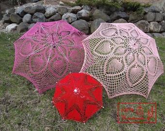 "VALENTINE 9"" Mini RED Heart Lace Crochet  UMBRELLA Parasol , Summer Wedding Flower Girl- Ready To Ship"