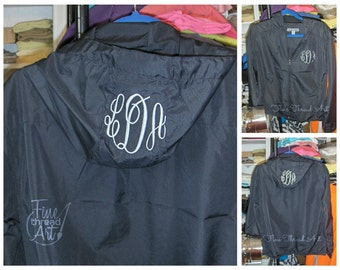Monogram Lightweight Wind Breaker Jacket for Ladies Zip Up with Hood Monogram on Chest AND Hood Plus Size Available