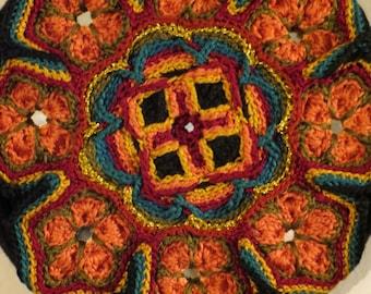 Crocheted Mandala Wall Art Color Wheel