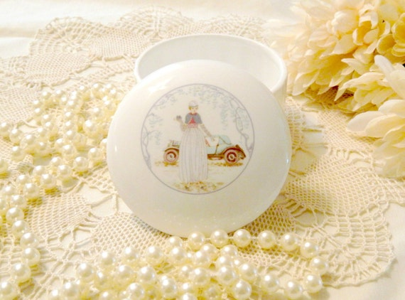 Vintage Fine Bone China Jewelry Box or Vanity Trinket Box with Antique Car and Flapper Girl