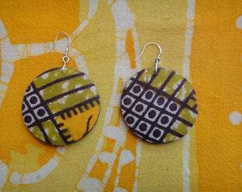African Basket Fabric Earrings Batik Wax Print Tie Dye Hippie Boho
