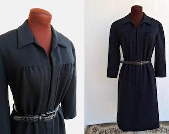 Vintage 60s Dress Shift Black Polyester Knit Hidden Front Zipper Size S / M