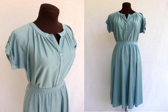 Vintage 70s Dress  2-Piece in Dusty Blue