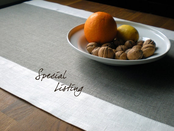 Special Listing for Glynnis50 2x Linen Table Runner Simplicity Gray And White And Christmas Striped Organic Gray Linen With Red