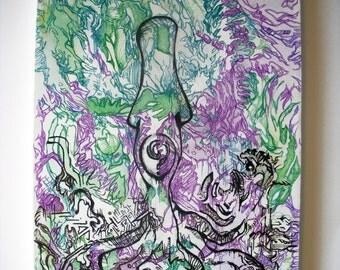 "Underneath. (11"" x 14"" canvas)"