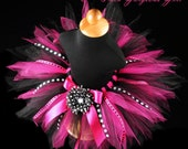 Hot Pink & Black Birthday Ribbon Tutu...Polka Dot Ribbon Streamers...Photo Prop, First Birthday Tutu...Baby, Toddler, Girls . . . DIVA PARTY