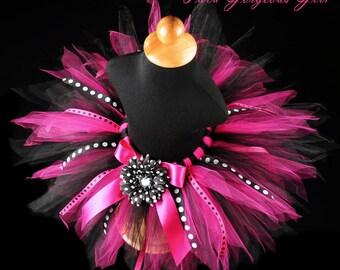 Hot Pink & Black Birthday Ribbon Tutu...Polka Dot Ribbon Streamers...Photo Prop, First Birthday Tutu...Baby, Toddler, Girls . . . DIVA PARTY