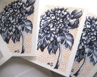 Black Dahlia - Floral Stationery - Orange, Black and White - Ink Drawing Printed Art Cards - Flower Cards 4x5""