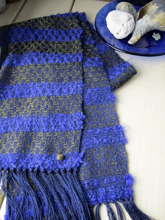Navy Blue Scarf - Stripe Scarf - Handwoven Scarf - Silk Scarf-  Women Scarves