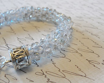OoaK Pale Gray and Clear Crystal Bracelet