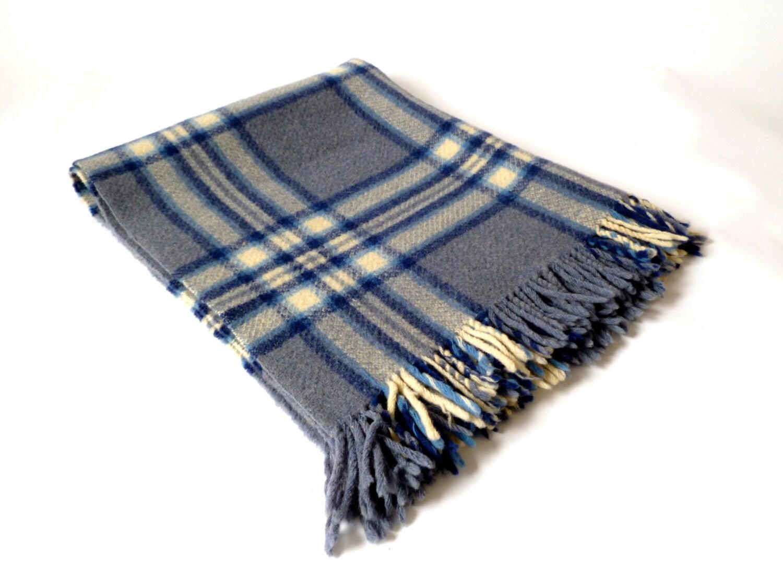 Vintage Small Plaid Wool Blanket Blue Blanket Lap