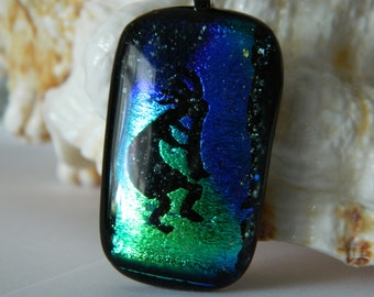 Kokopelli Fused Glass Green and Blue Dichroic Pendant Necklace