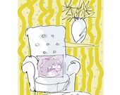 Comfy Chair with Yellow and Rose Print