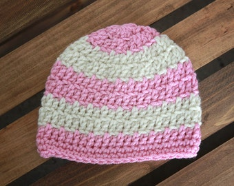 Pink and Cream Striped Crochet Beanie