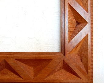 Mirror Frame in Mahogany with Carved Triangles
