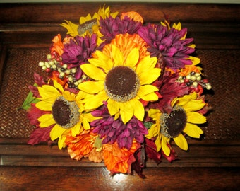 Fall Centerpieces, Wedding Reception Centerpiece, Sunflower Centerpiece, Rustic Wedding Decoration, Silk Keepsake Centerpieces