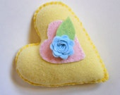 Heart Pincushion - Yellow Heart with Flower - Little Pastel Wool Heart  Pillow - Cottage Decoration