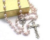 St Therese Pink Pearl Catholic Rosary Beads for Women