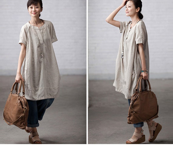 Loose Fitting Soft Cotton Long Shirt Blouse for Women Rice
