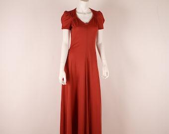 Vintage Maxi Dress - 1970s Rust Dress -  Jody T of California - S