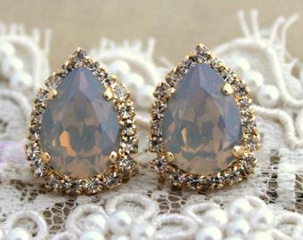 Gray Opal stud earrings,Gray Swarovski Earrings,Gray Silver Bridal jewelry, bridesmaids earrings, Bridal jewelry,gift for her,Opal earrings.