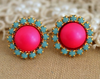 Stud earring Neon pink and Turquoise  - 14 k plated gold post earrings real swarovski pearls.