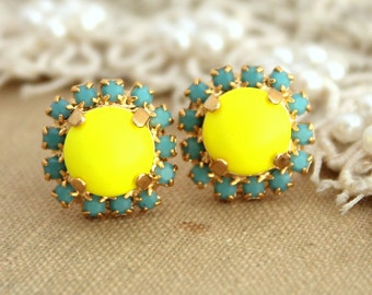 Neon Yellow Turquoise Stud earrings Swarovski  Crystal, yellow neon jewelry  -14 k plated gold post earrings real swarovski rhinestones.