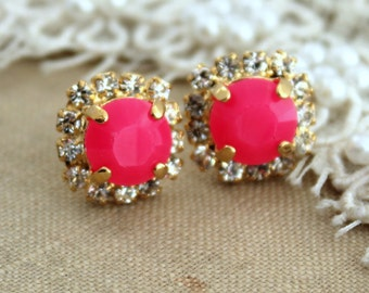 Neon Stud earring Neon Pink white Rhinestones  Summer - 14k plated gold post earrings real swarovski rhinestones and Acrylic neon stone
