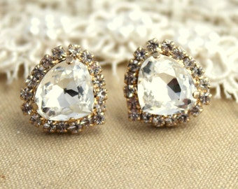 White Crystal earrings, Rhinestone Crystal stud Petite vintage earring , 14k 1 micron Thick plated gold post earrings Swarovski rhinestones.
