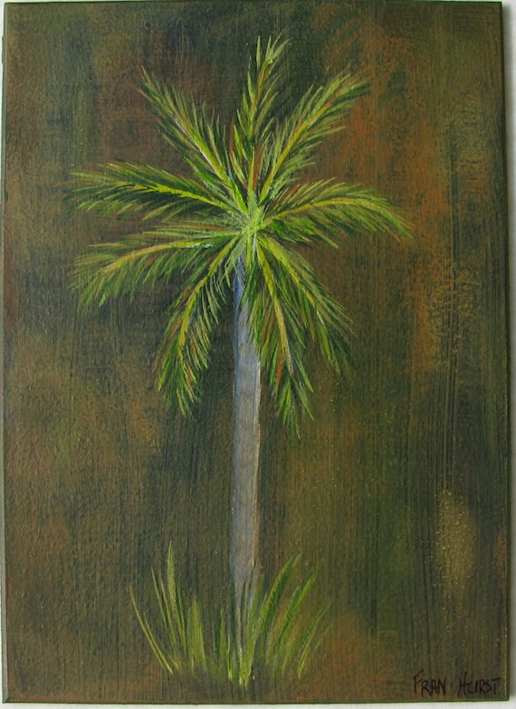 Tropical palm tree original acrylic painting for Painting palm trees