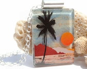 Tropical Island - Fused Glass Pendant Necklace, Beach Vacation, Palm Tree, Sunset, Ocean Sea, Summer Sun, Art Glass Landscape (Item 10546-P)