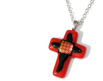 Cross Pendant, Red and Black, Fused Glass Jewelry, Dichroic Glass, Faith, Christ, Jesus, Love, Christian, Crucifix (Item 10168-PC)