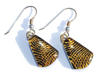 Dangle Earrings - Dichroic Glass Earrings, Fused Glass Jewelry, Elegant Fashion - 18K Gold Filled Wires - Black with Gold (Item 30466-E)