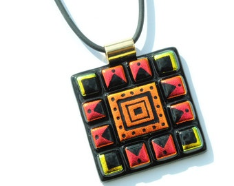 Mosaic Etchings - LARGE Dichroic Glass Pendant Necklace, Fused Glass - Wearable Art, Southwestern, Aztec, Orange Gold Red (Item 10532-P)