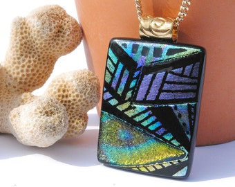 Hand Etched Dichroic Glass Pendant Necklace - Fused Glass Jewelry, Wearable Art, Abstract Geometric, Zentangle, Colorful (Item 10528-P)